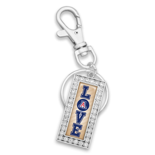 Arizona Wildcats Love Drop Rectangle Key Chain/Zipper Pull