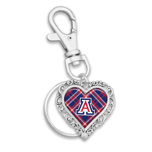 Arizona Wildcats Plaid Lace Trim Heart Key Chain/Zipper Pull