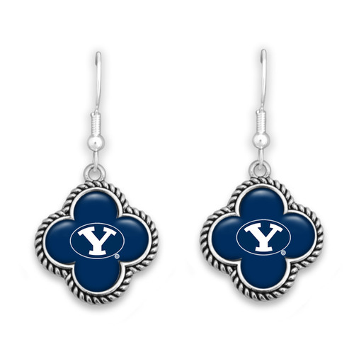 BYU Cougars Quatrefoil Earrings