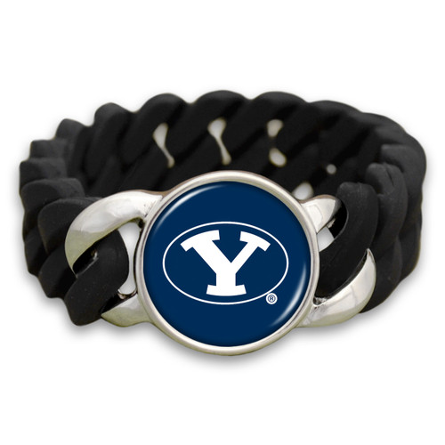 BYU Cougars Black Stretchy Silicone College Bracelet