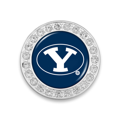BYU Cougars Round Crystal Brooch