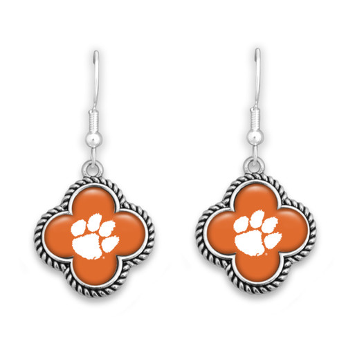 Clemson Tigers Quatrefoil Earrings