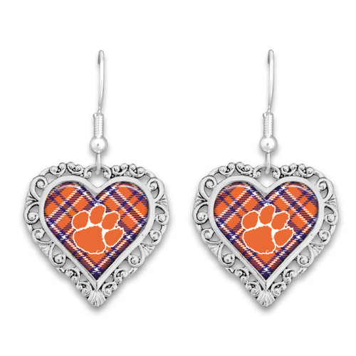 Clemson Tigers Frills Heart- Plaid  Earrings