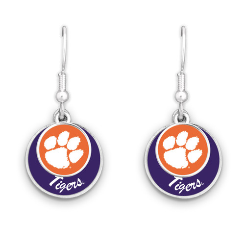 Clemson Tigers Stacked Disk Earrings