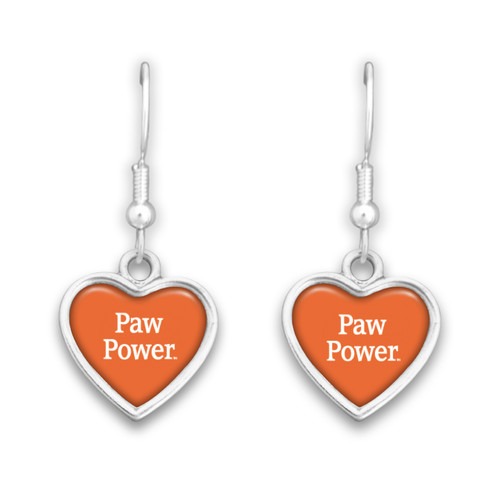 Clemson Tigers Spirit Slogan Heart Earrings