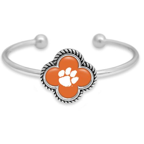 Clemson Tigers Quatrefoil Cuff Bracelet
