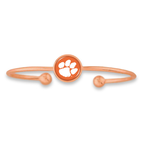 Clemson Tigers Izzie Rose Gold Dome Cuff College Bracelet