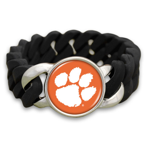 Clemson Tigers Black Stretchy Silicone College Bracelet