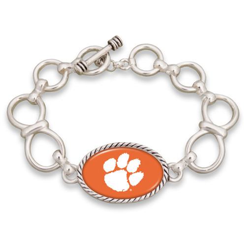 Clemson Tigers Silver Chain Toggle College Bracelet