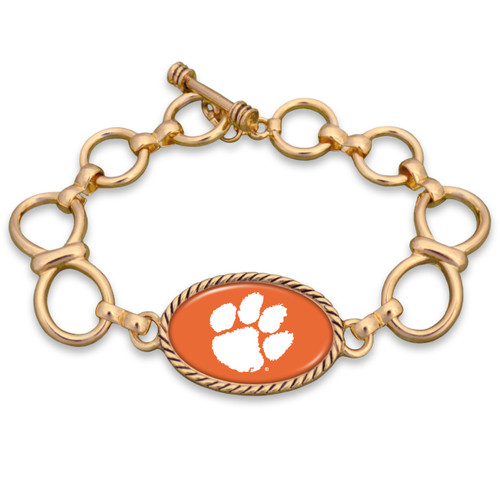 Clemson Tigers Gold Chain Toggle College Bracelet