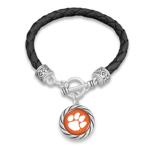 Clemson Tigers Twisted Rope and Black Leather Bracelet