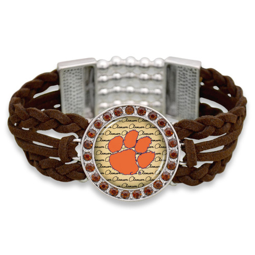 Clemson Tigers Brown Braided Suede with Script Background College Bracelet