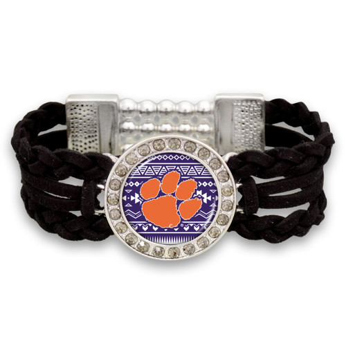 Clemson Tigers Black Braided Suede with Script Background College Bracelet