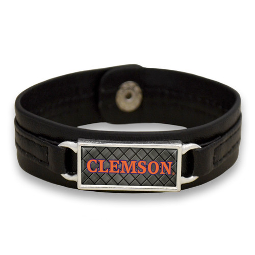"Clemson Tigers Black ""Edge"" Leather Nameplate with Tile Background College Bracelet"