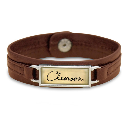 "Clemson Tigers Brown ""Edge"" Leather Nameplate with Tile Background College Bracelet"