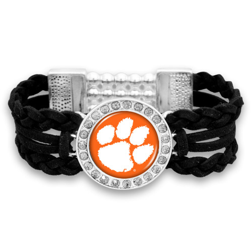 Clemson Tigers Black Braided Suede College Bracelet