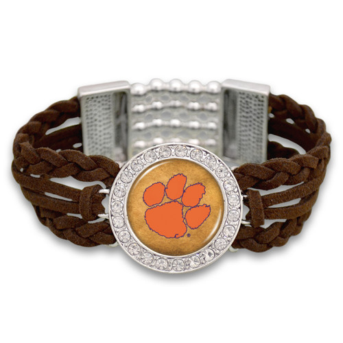 Clemson Tigers Brown Braided Suede College Bracelet