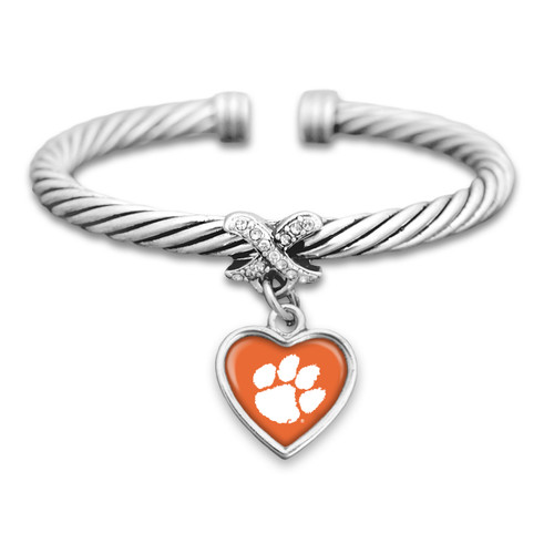 Clemson Tigers Heart Drop with Crystal X Cuff Bracelet