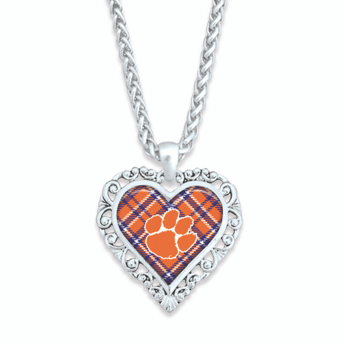Clemson Tigers Frills Heart- Plaid  Necklace