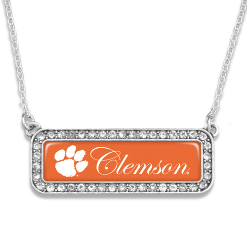 Clemson Tigers Silver Crystal Name Plate Necklace