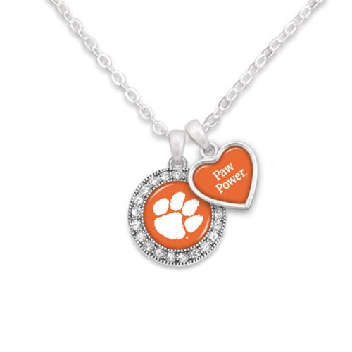 Clemson Tigers Round Logo with Spirit Slogan Heart Necklace