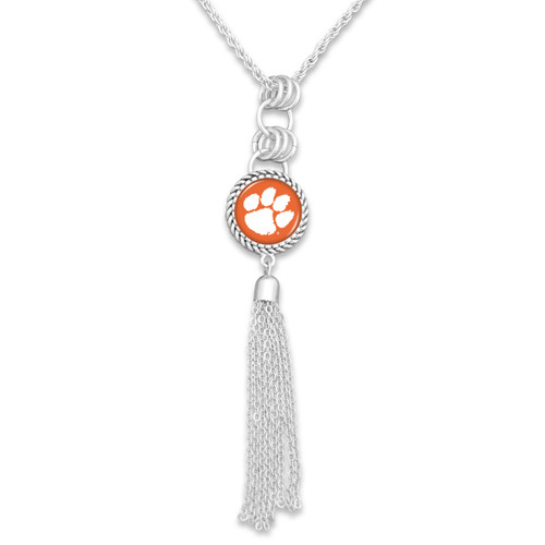 Clemson Tigers Silver Tassel Necklace