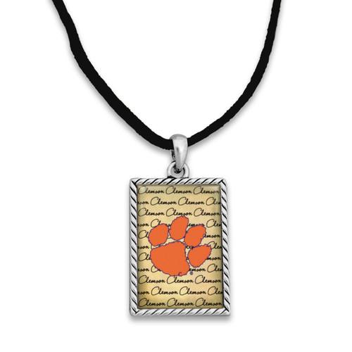 Clemson Tigers Suede Necklace with Parchment Script Background