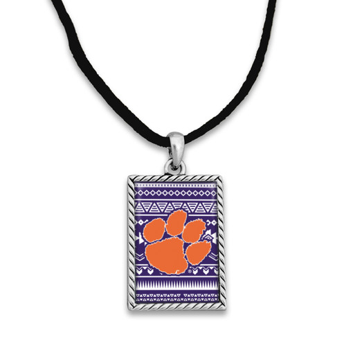 Clemson Tigers Rectangle Logo with Geometric Background Necklace