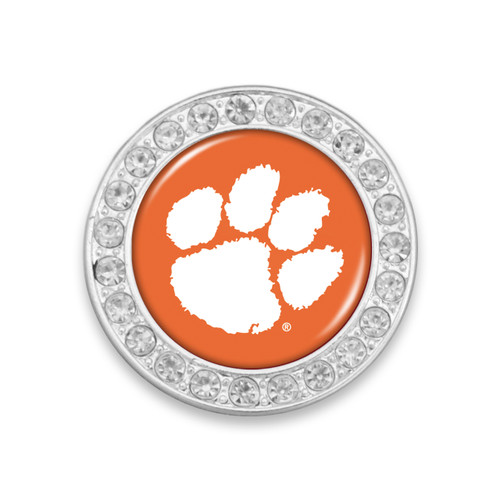 Clemson Tigers Round Crystal Brooch