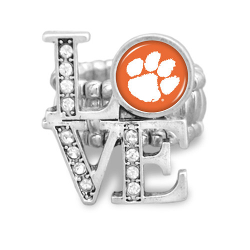 Clemson Tigers LOVE Stretchy Ring