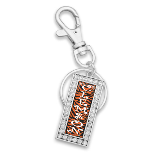 Clemson Tigers Zebra Drop Rectangle Key Chain/Zipper Pull