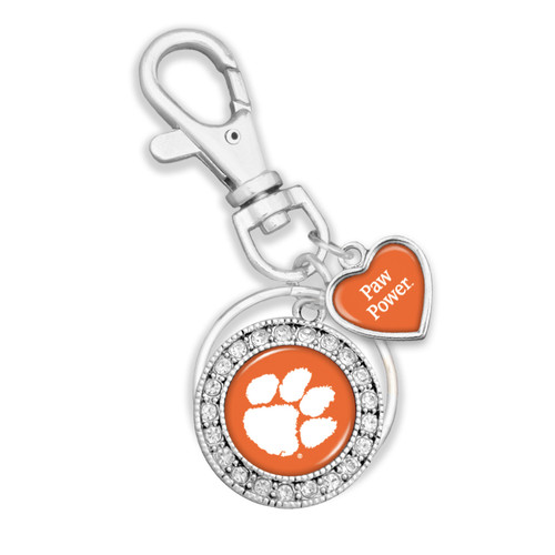 Clemson Tigers Round Logo with Spirit Slogan Heart Accent Key Chain/Zipper Pull