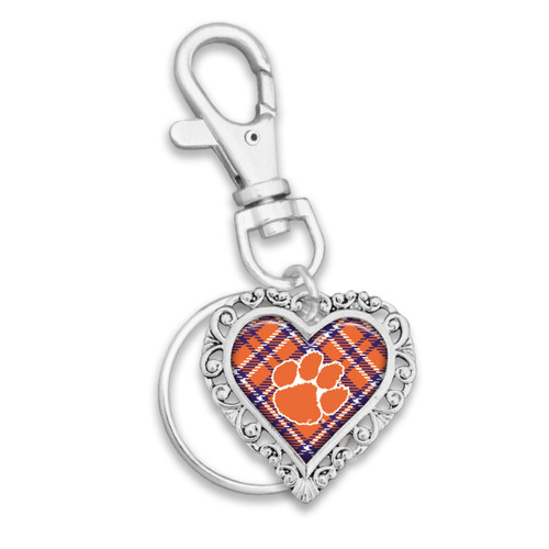 Clemson Tigers Plaid Lace Trim Heart Key Chain/Zipper Pull