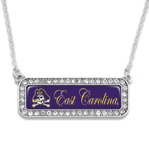 East Carolina Pirates Necklace- Silver Crystal Nameplate