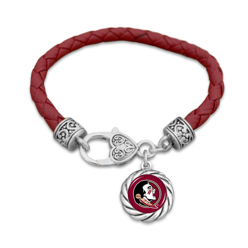 Florida State Seminoles Bracelet- Harvey Leather Twisted Rope