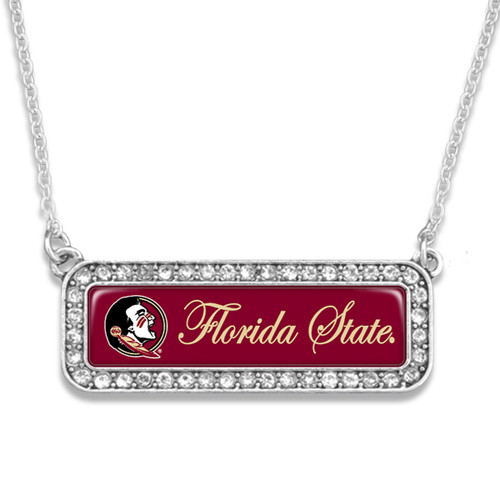 Florida State Seminoles Necklace- Silver Crystal Nameplate
