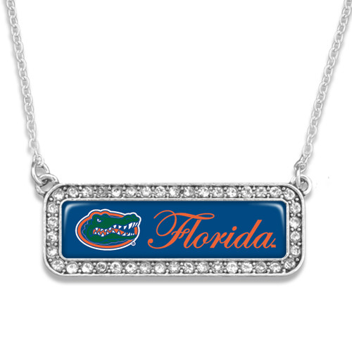 Florida Gators Necklace- Silver Crystal Nameplate