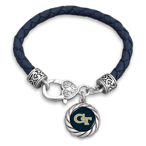 Georgia Tech Yellow Jackets Bracelet- Harvey Leather Twisted Rope