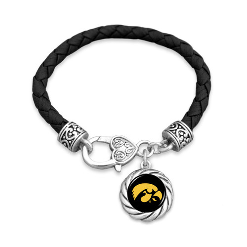 Iowa Hawkeyes Bracelet- Harvey Leather Twisted Rope
