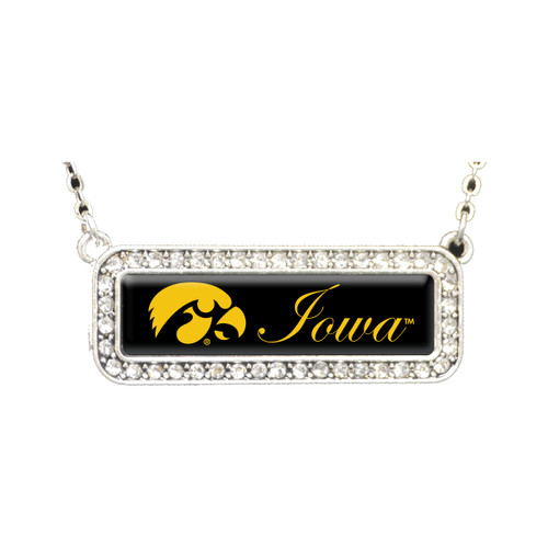Iowa Hawkeyes Necklace- Silver Crystal Nameplate