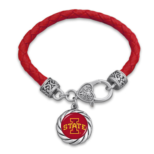 Iowa State Cyclones Bracelet- Harvey Leather Twisted Rope