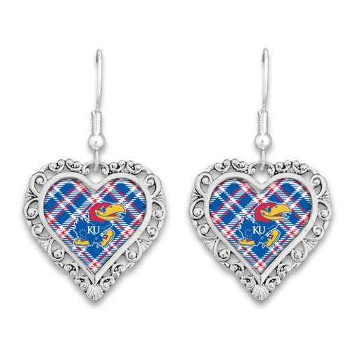 Kansas Jayhawks Earrings- Plaid