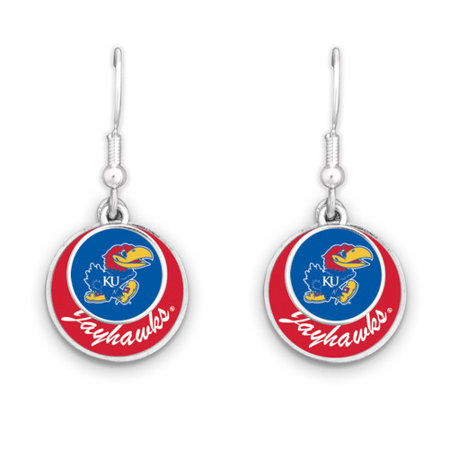 Kansas Jayhawks Earrings- Stacked Disk