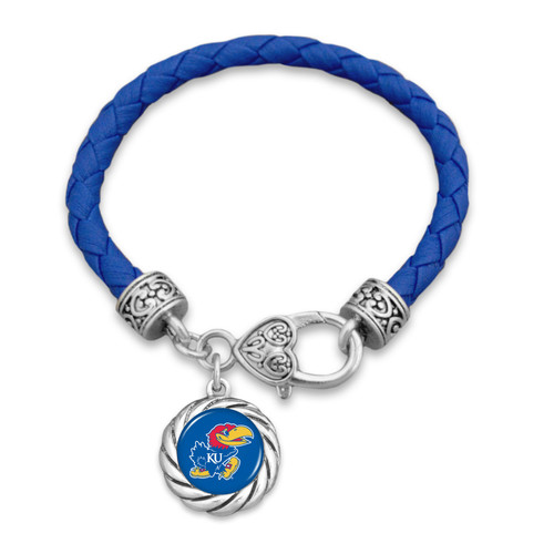 Kansas Jayhawks Bracelet- Harvey Leather Twisted Rope