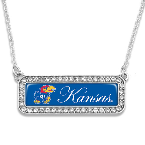 Kansas Jayhawks Necklace- Silver Crystal Nameplate