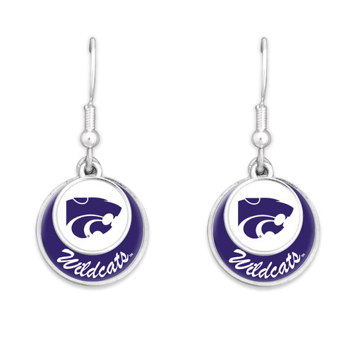Kansas State Wildcats Earrings- Stacked Disk