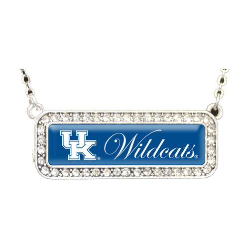 Kentucky Wildcats Necklace- Silver Crystal Nameplate