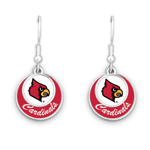 Louisville Cardinals Earrings- Stacked Disk
