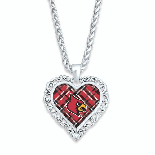 Louisville Cardinals Necklace- Plaid