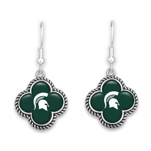 Michigan State Spartans Quatrefoil Earrings